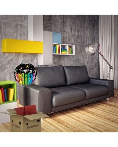 ballon cadeau happy birthday rainbow color