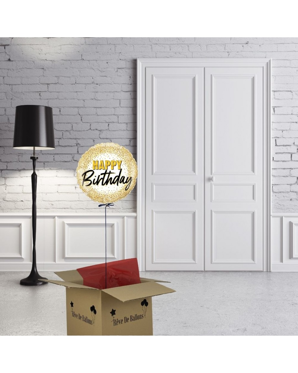 box ballon cadeau happy birthday doré